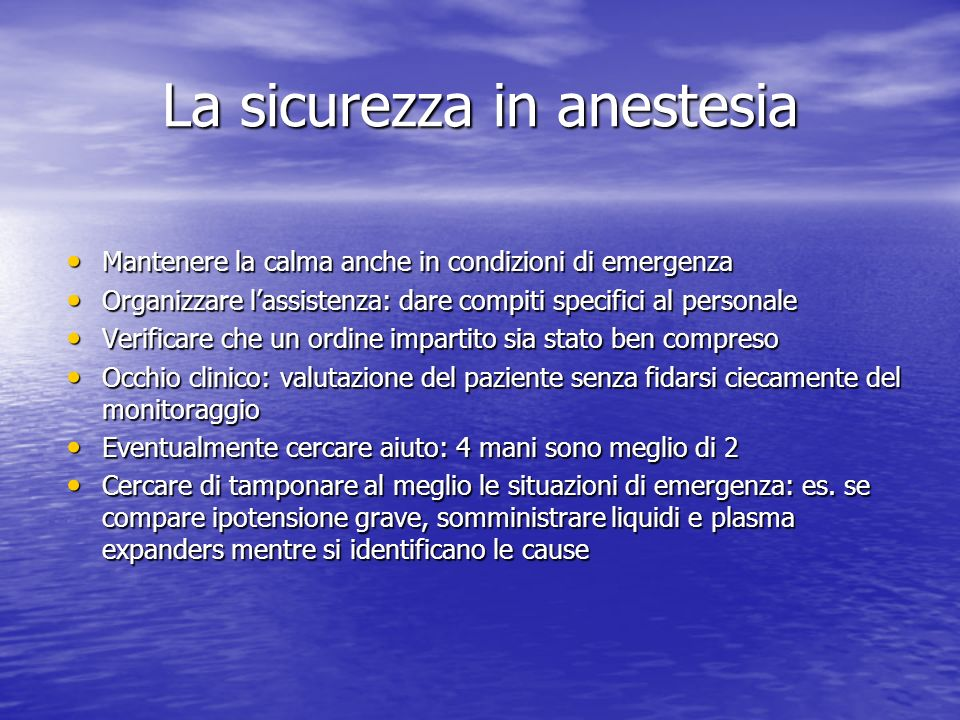 La sicurezza in anestesia