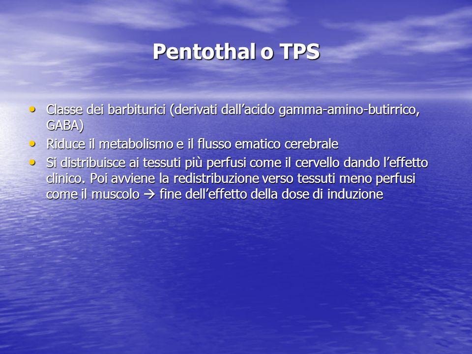 Pentothal o TPS Classe dei barbiturici (derivati dall'acido gamma-amino-butirrico, GABA) Riduce il metabolismo e il flusso ematico cerebrale.