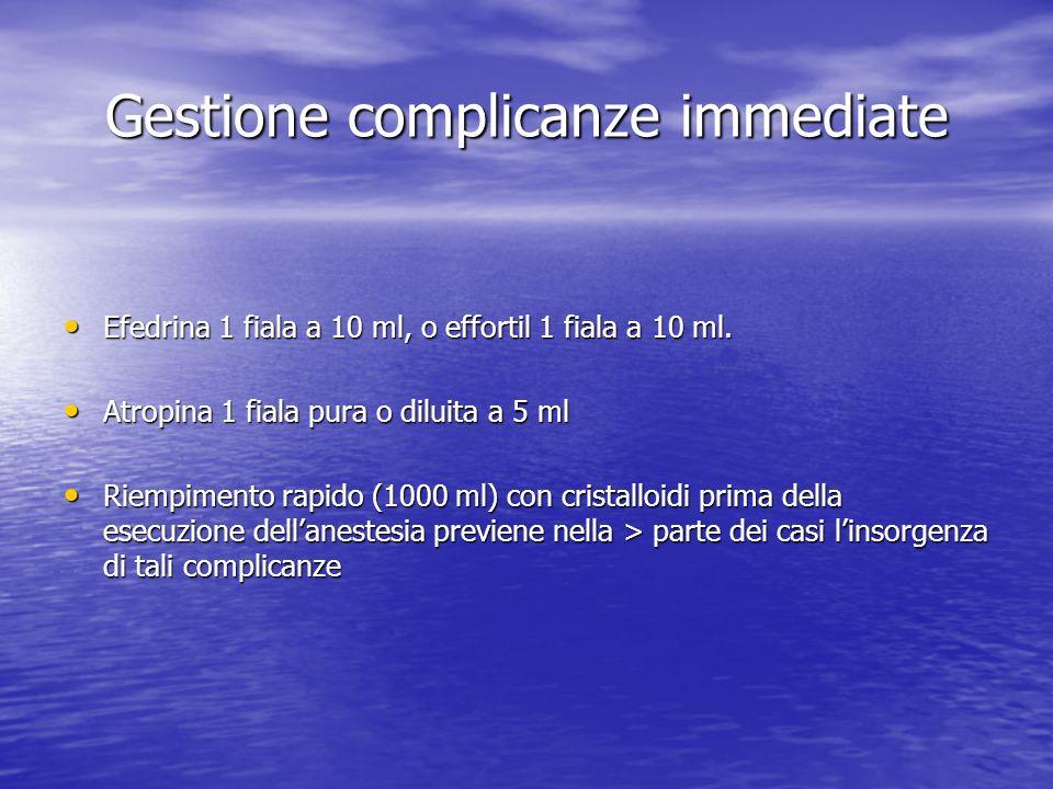 Gestione complicanze immediate