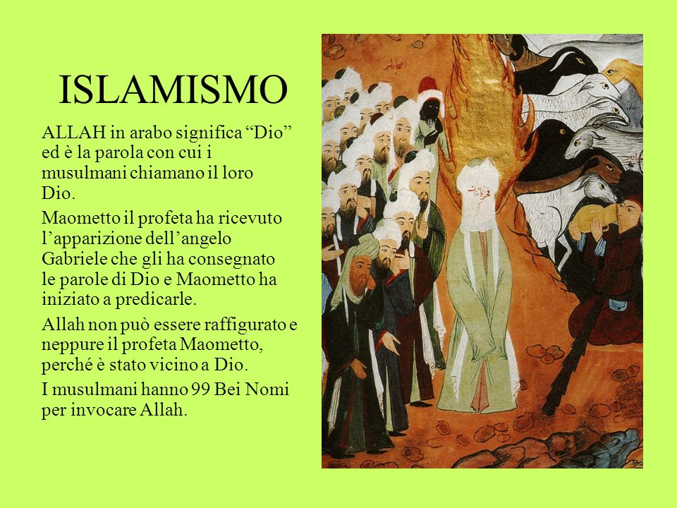 ISLAMISMO ALLAH in arabo significa Dio ed è la parola con cui i musulmani chiamano il loro Dio.