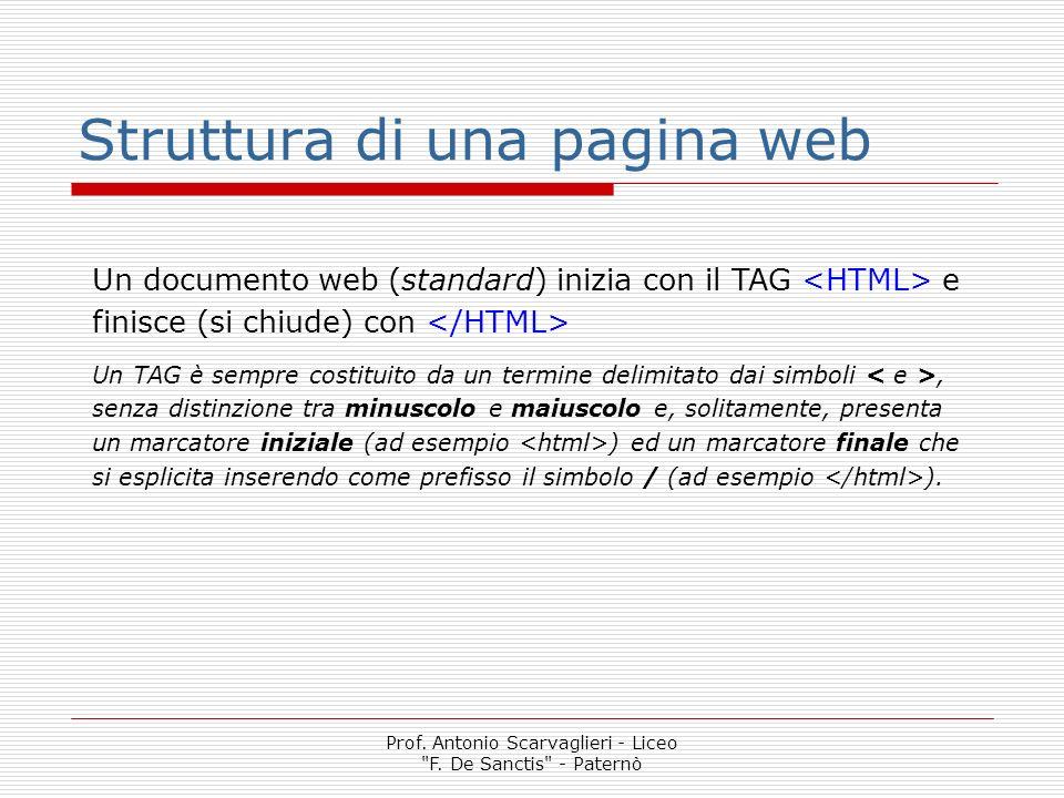 Struttura di una pagina web