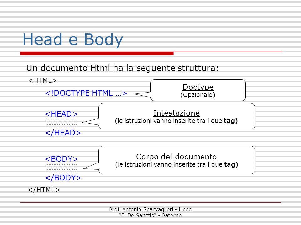 Head e Body Un documento Html ha la seguente struttura: Doctype