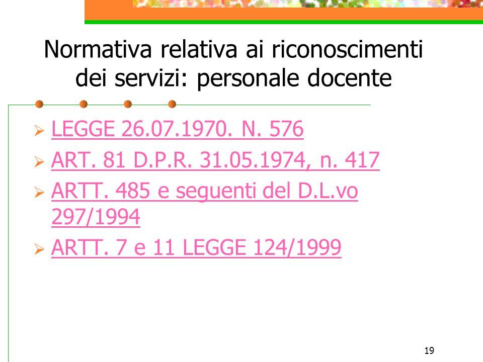 Normativa relativa ai riconoscimenti dei servizi: personale docente