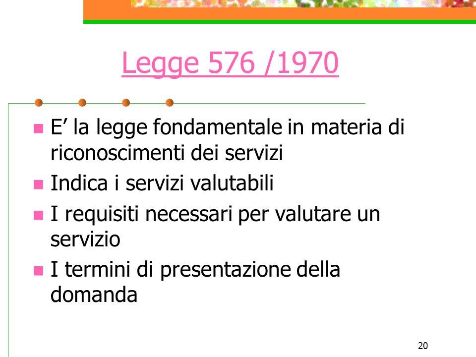 Legge 576 /1970E' la legge fondamentale in materia di riconoscimenti dei servizi. Indica i servizi valutabili.