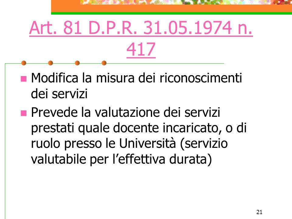 Art. 81 D.P.R. 31.05.1974 n. 417 Modifica la misura dei riconoscimenti dei servizi.