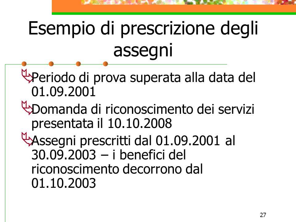 Esempio di prescrizione degli assegni