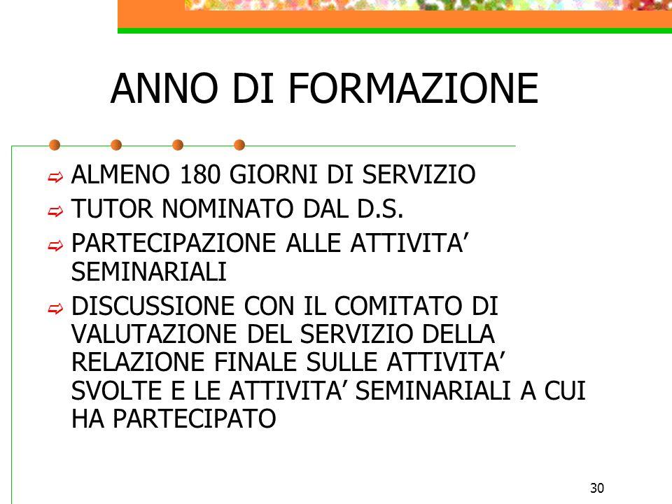 ANNO DI FORMAZIONE ALMENO 180 GIORNI DI SERVIZIO
