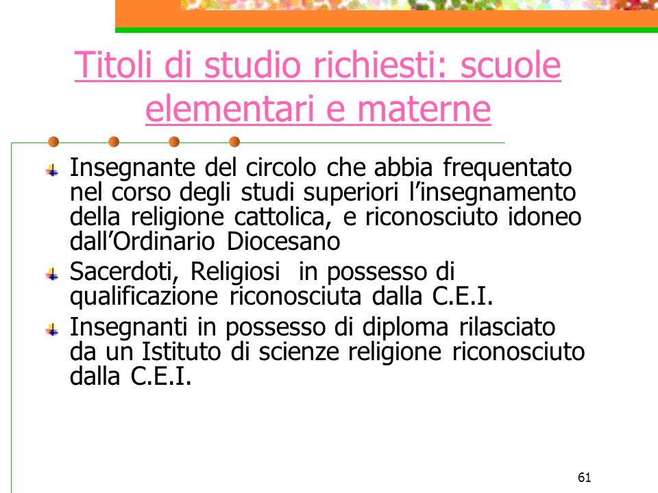 Titoli di studio richiesti: scuole elementari e materne