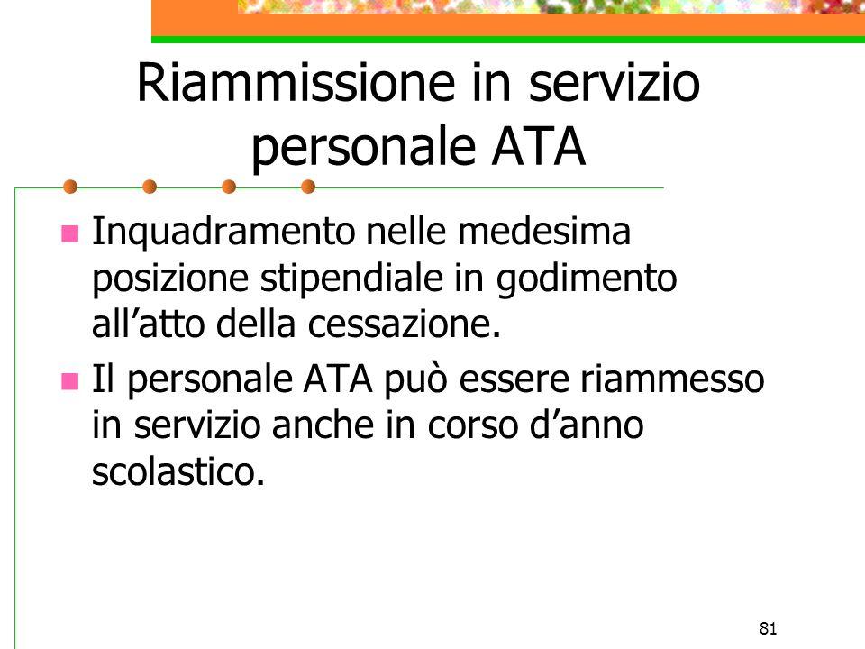 Riammissione in servizio personale ATA