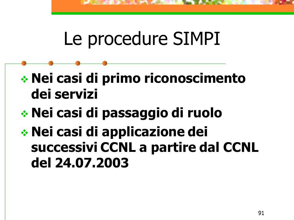 Le procedure SIMPI Nei casi di primo riconoscimento dei servizi