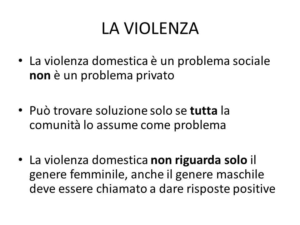 LA VIOLENZA La violenza domestica è un problema sociale non è un problema privato.