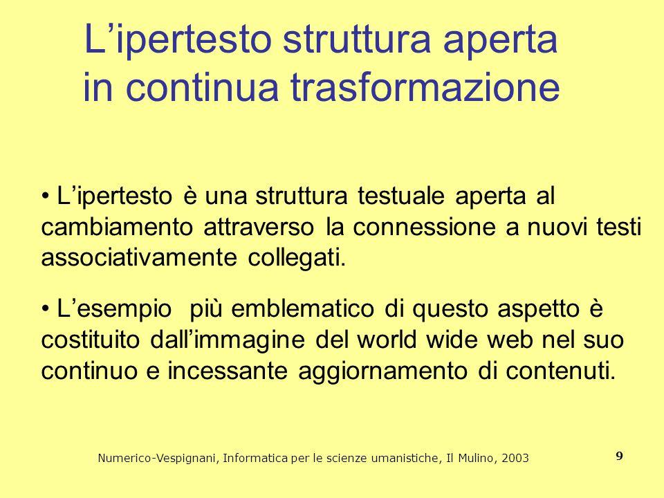 L'ipertesto struttura aperta in continua trasformazione