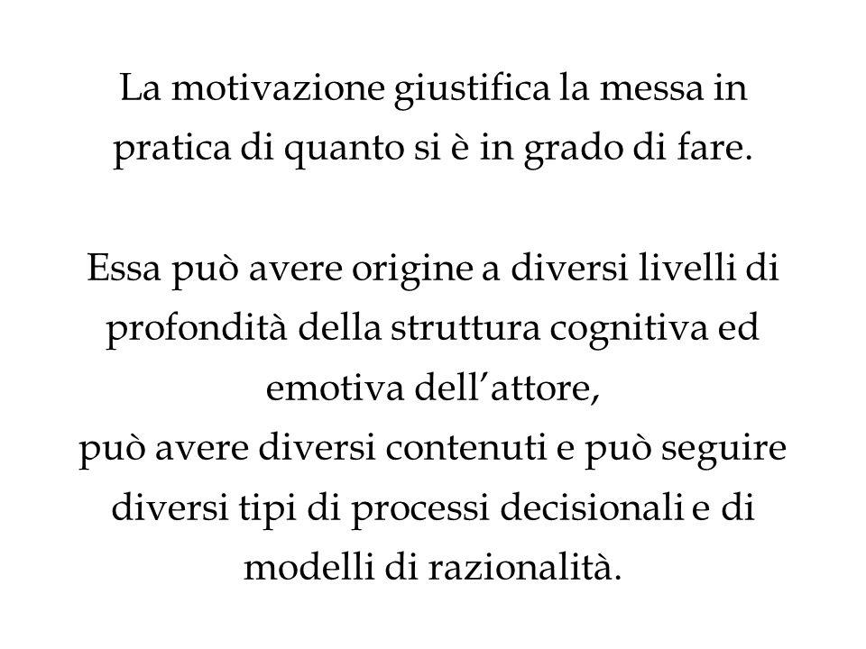 La motivazione giustifica la messa in pratica di quanto si è in grado di fare.