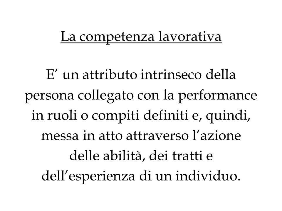 La competenza lavorativa E' un attributo intrinseco della persona collegato con la performance in ruoli o compiti definiti e, quindi, messa in atto attraverso l'azione delle abilità, dei tratti e dell'esperienza di un individuo.