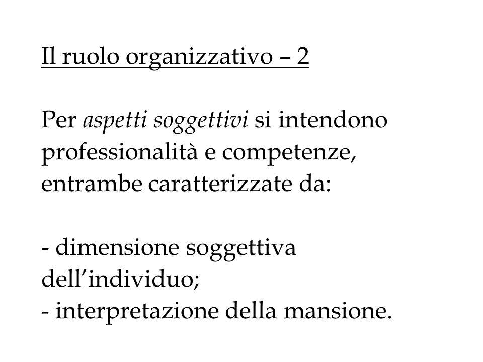 Il ruolo organizzativo – 2 Per aspetti soggettivi si intendono professionalità e competenze, entrambe caratterizzate da: - dimensione soggettiva dell'individuo; - interpretazione della mansione.