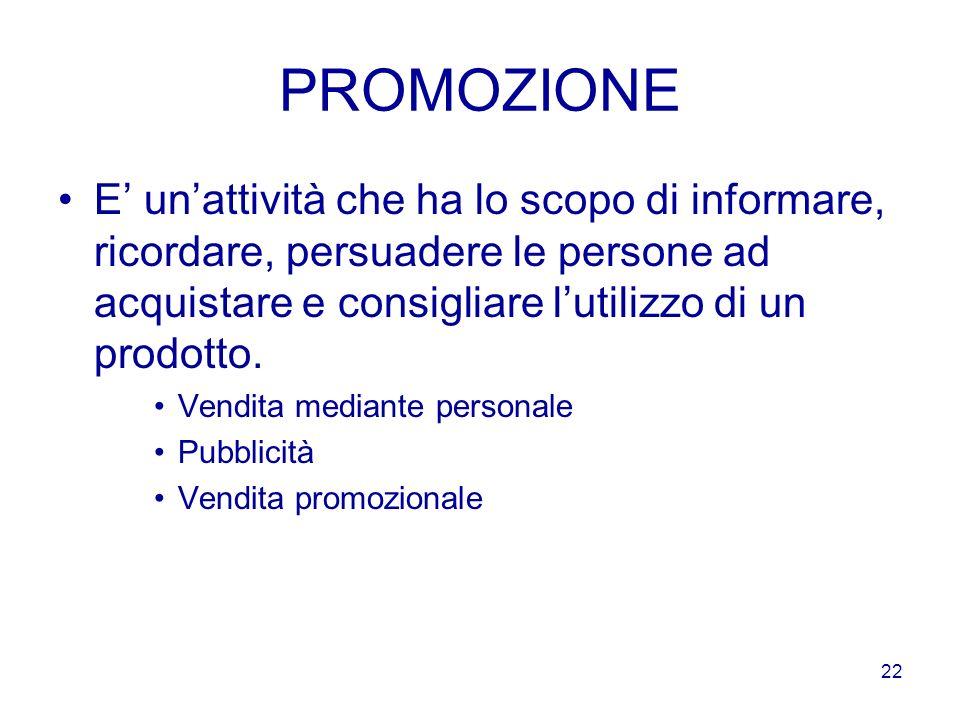 PROMOZIONE E' un'attività che ha lo scopo di informare, ricordare, persuadere le persone ad acquistare e consigliare l'utilizzo di un prodotto.