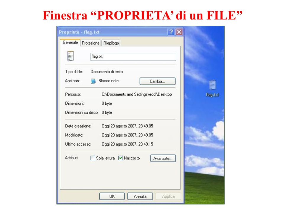 Finestra PROPRIETA' di un FILE