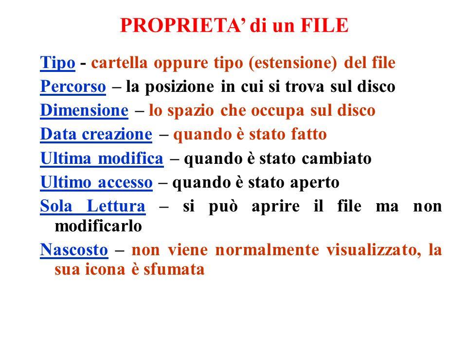 PROPRIETA' di un FILE Tipo - cartella oppure tipo (estensione) del file. Percorso – la posizione in cui si trova sul disco.