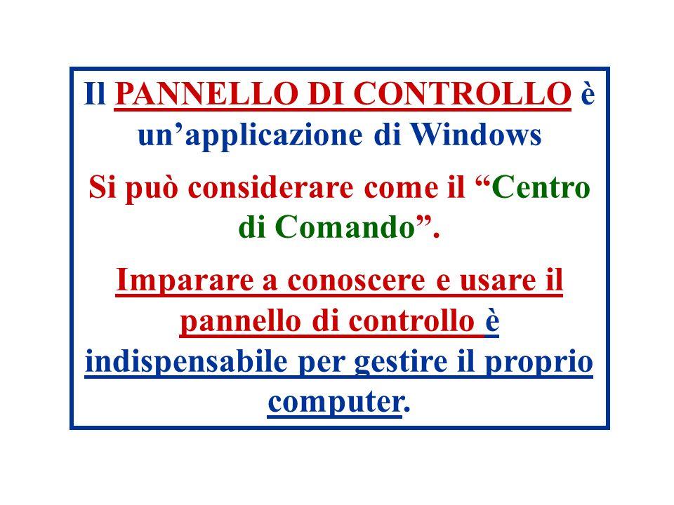 Il PANNELLO DI CONTROLLO è un'applicazione di Windows