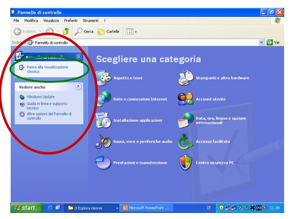 Presentazione 20 Appare una finestra con le categorie di controlli ai quali si può accedere sulla destra e alcune opzioni aggiuntive sulla sinistra.