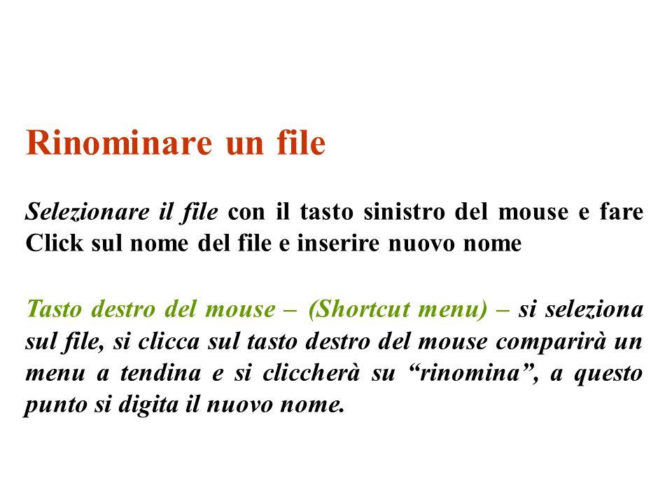 Rinominare un file Selezionare il file con il tasto sinistro del mouse e fare Click sul nome del file e inserire nuovo nome.