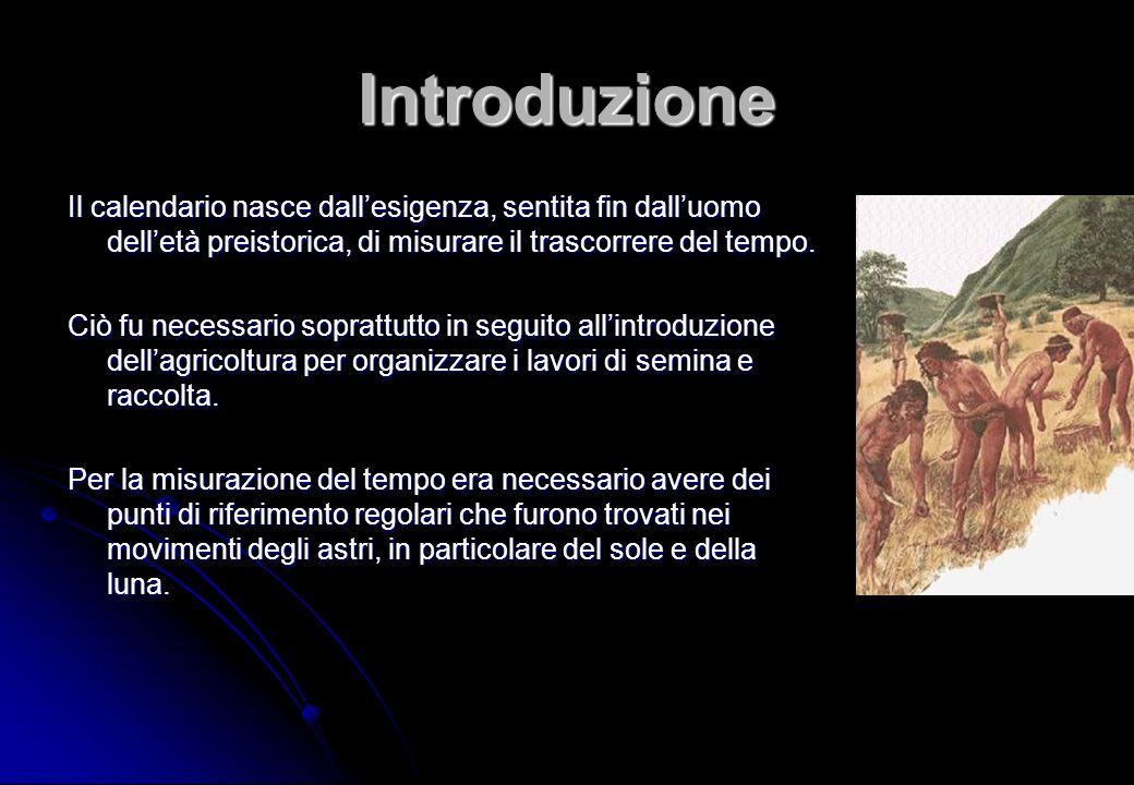 Introduzione Il calendario nasce dall'esigenza, sentita fin dall'uomo dell'età preistorica, di misurare il trascorrere del tempo.