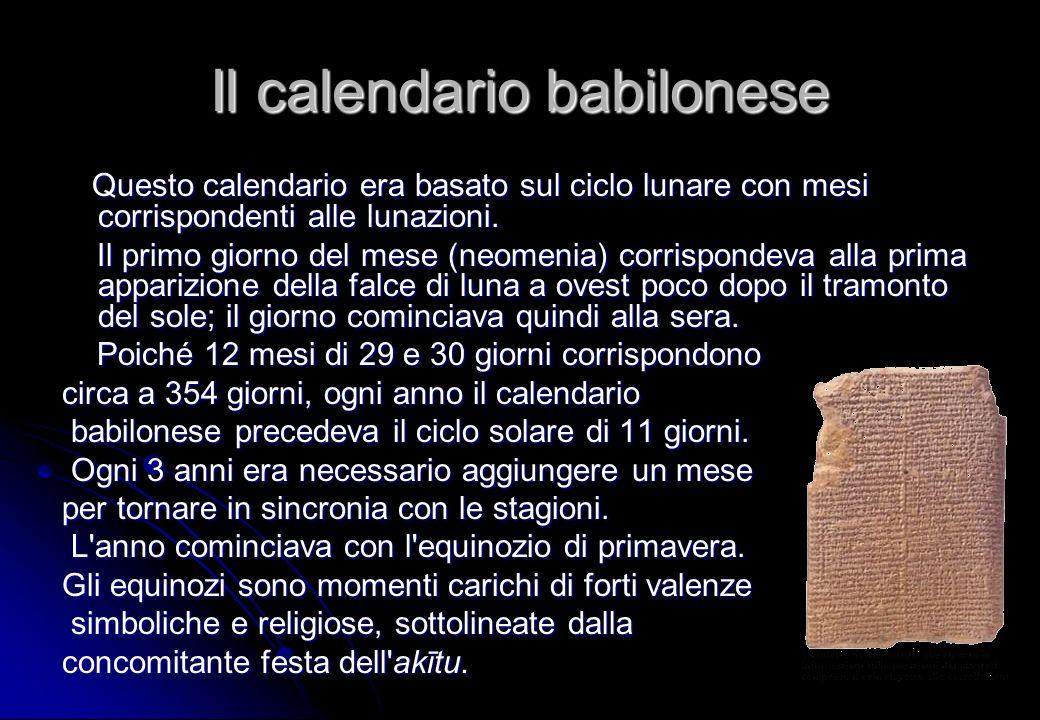 Il calendario babilonese