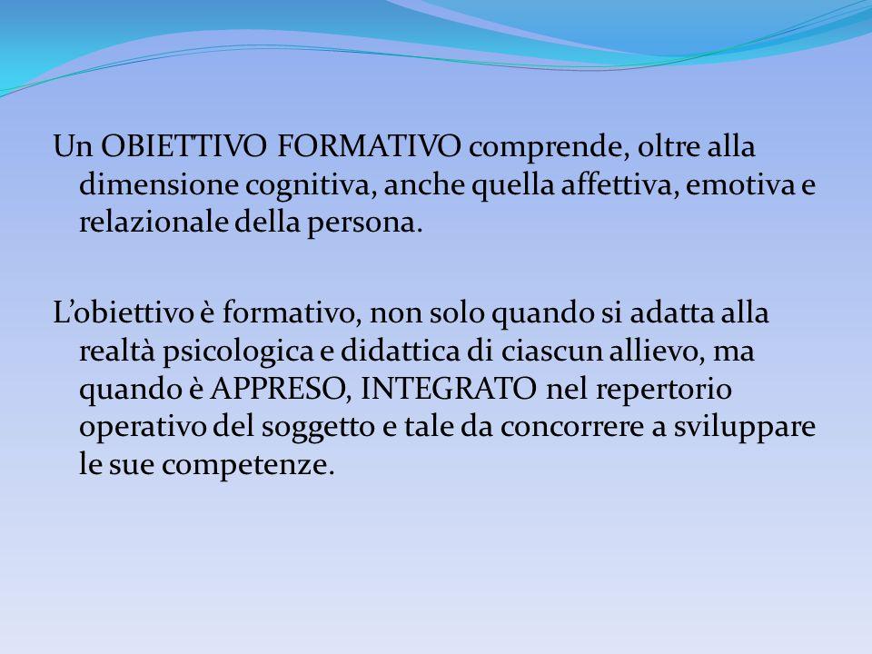 Un OBIETTIVO FORMATIVO comprende, oltre alla dimensione cognitiva, anche quella affettiva, emotiva e relazionale della persona.