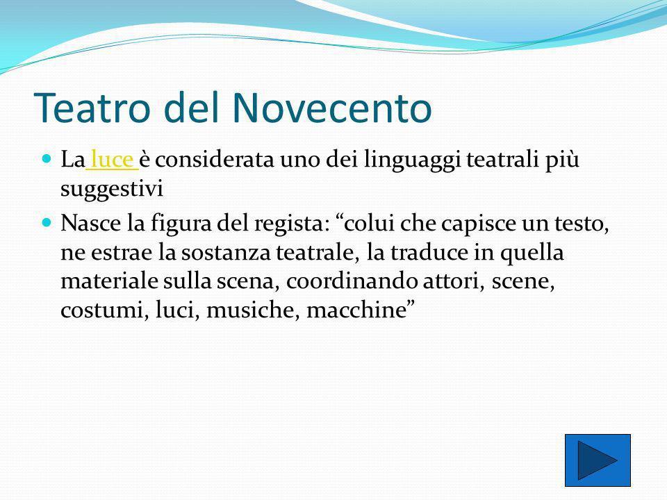 Teatro del Novecento La luce è considerata uno dei linguaggi teatrali più suggestivi.