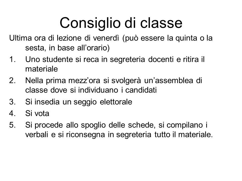 Consiglio di classe Ultima ora di lezione di venerdì (può essere la quinta o la sesta, in base all'orario)