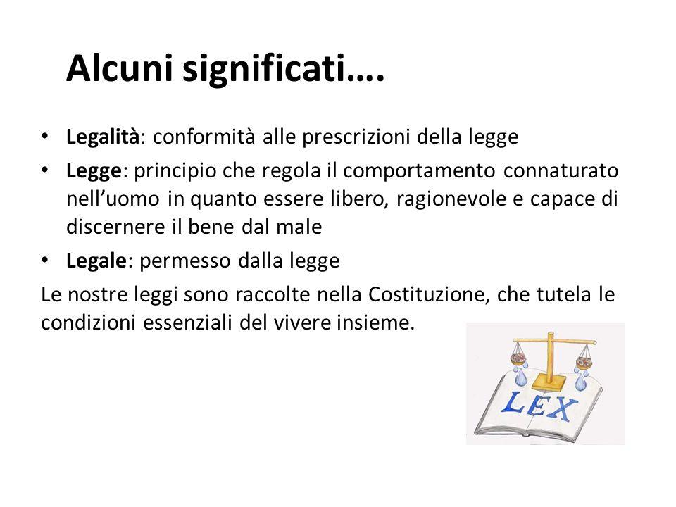 Alcuni significati…. Legalità: conformità alle prescrizioni della legge.