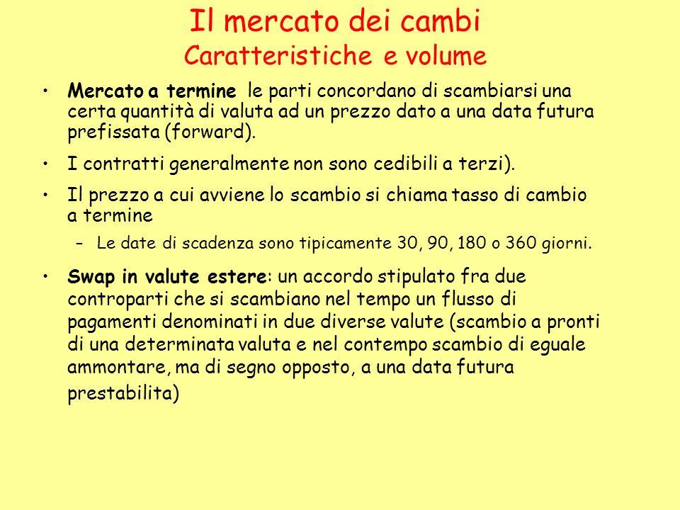 Il mercato dei cambi Caratteristiche e volume