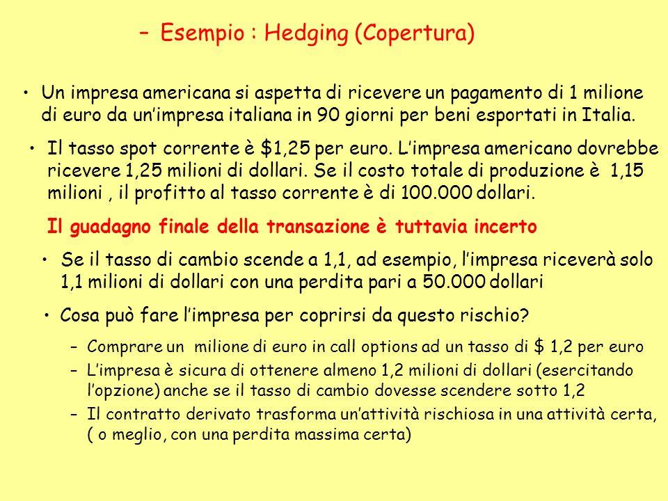 Esempio : Hedging (Copertura)