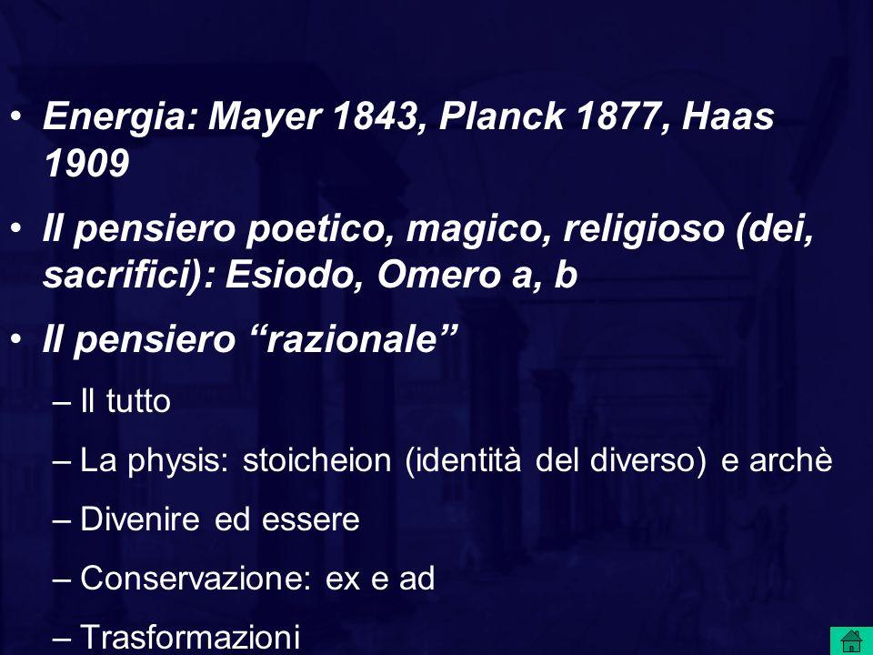 Energia: Mayer 1843, Planck 1877, Haas 1909