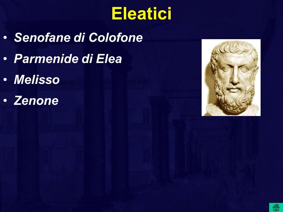 Eleatici Senofane di Colofone Parmenide di Elea Melisso Zenone