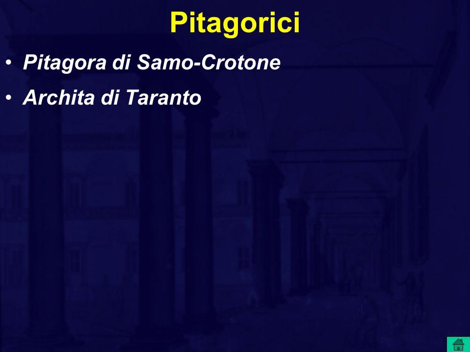 Pitagorici Pitagora di Samo-Crotone Archita di Taranto