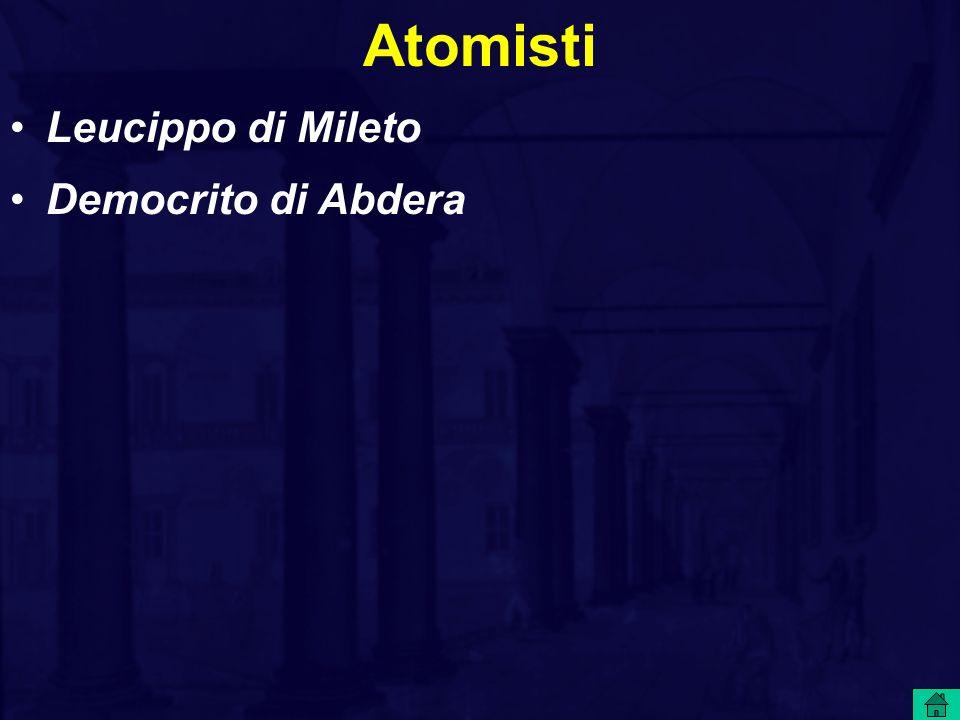 Atomisti Leucippo di Mileto Democrito di Abdera