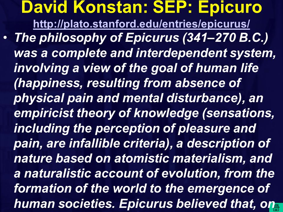 David Konstan: SEP: Epicuro http://plato. stanford