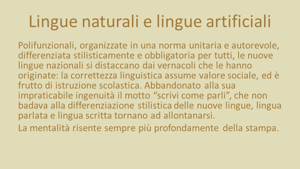 Lingue naturali e lingue artificiali