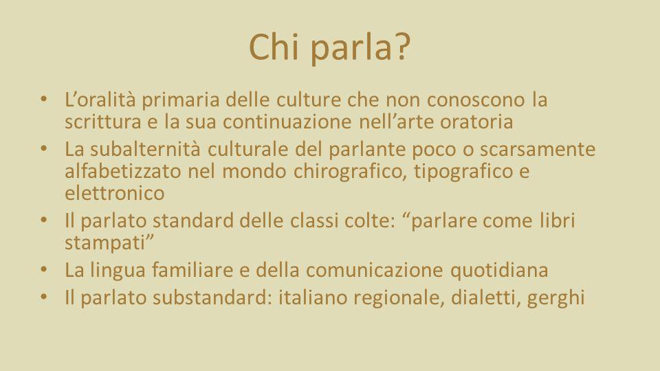 Chi parla L'oralità primaria delle culture che non conoscono la scrittura e la sua continuazione nell'arte oratoria.