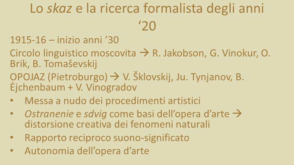 Lo skaz e la ricerca formalista degli anni '20