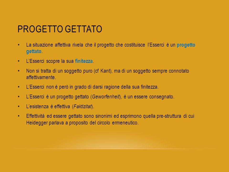 Progetto gettato La situazione affettiva rivela che il progetto che costituisce l'Esserci è un progetto gettato.