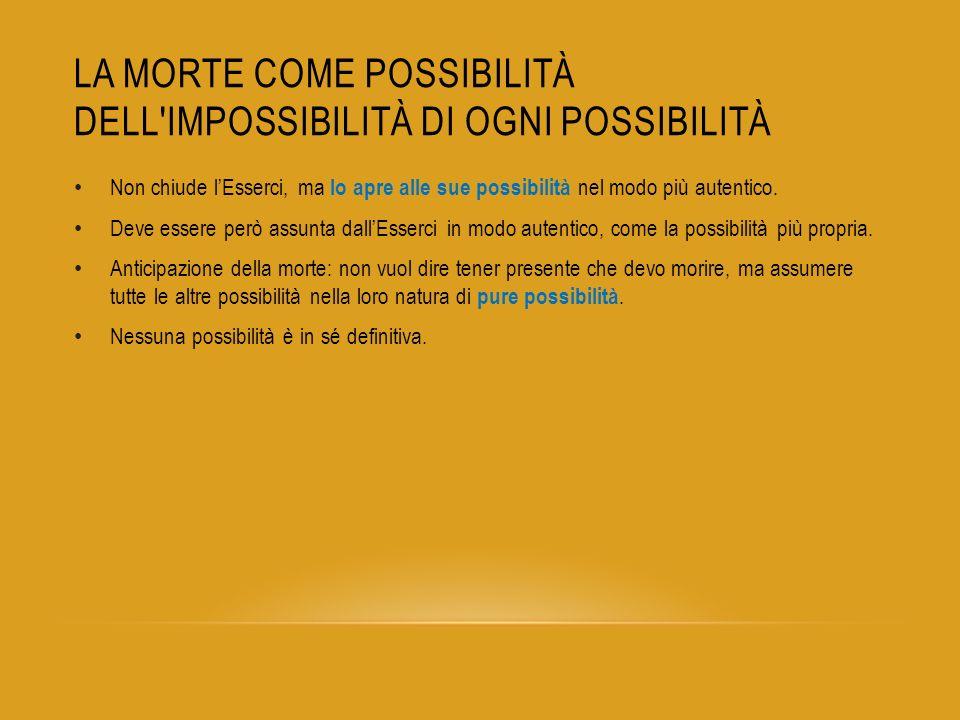 La morte come possibilità dell impossibilità di ogni possibilità