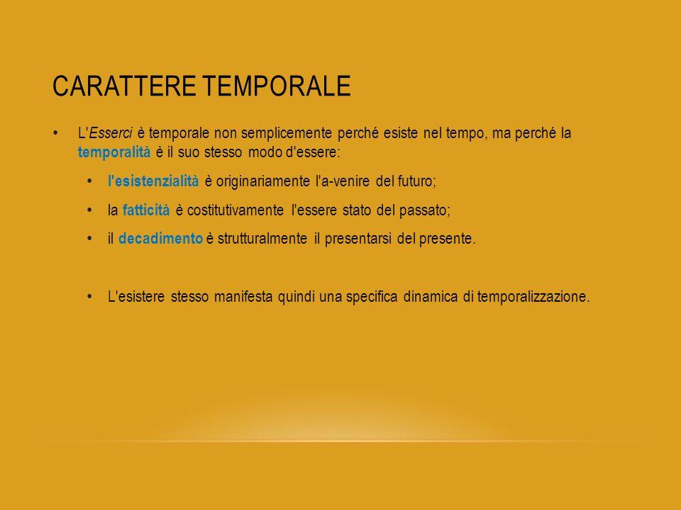 Carattere temporale L Esserci è temporale non semplicemente perché esiste nel tempo, ma perché la temporalità è il suo stesso modo d essere:
