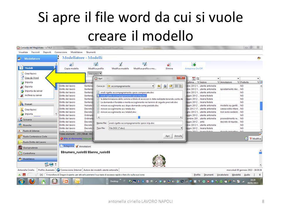 Si apre il file word da cui si vuole creare il modello