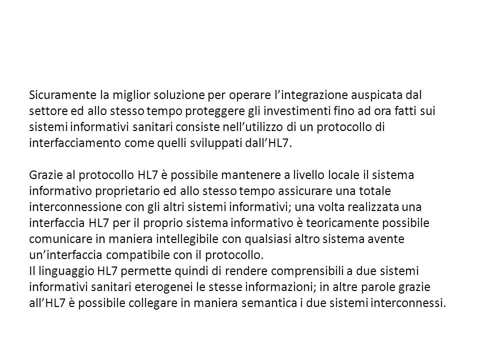 Sicuramente la miglior soluzione per operare l'integrazione auspicata dal settore ed allo stesso tempo proteggere gli investimenti fino ad ora fatti sui sistemi informativi sanitari consiste nell'utilizzo di un protocollo di interfacciamento come quelli sviluppati dall'HL7.