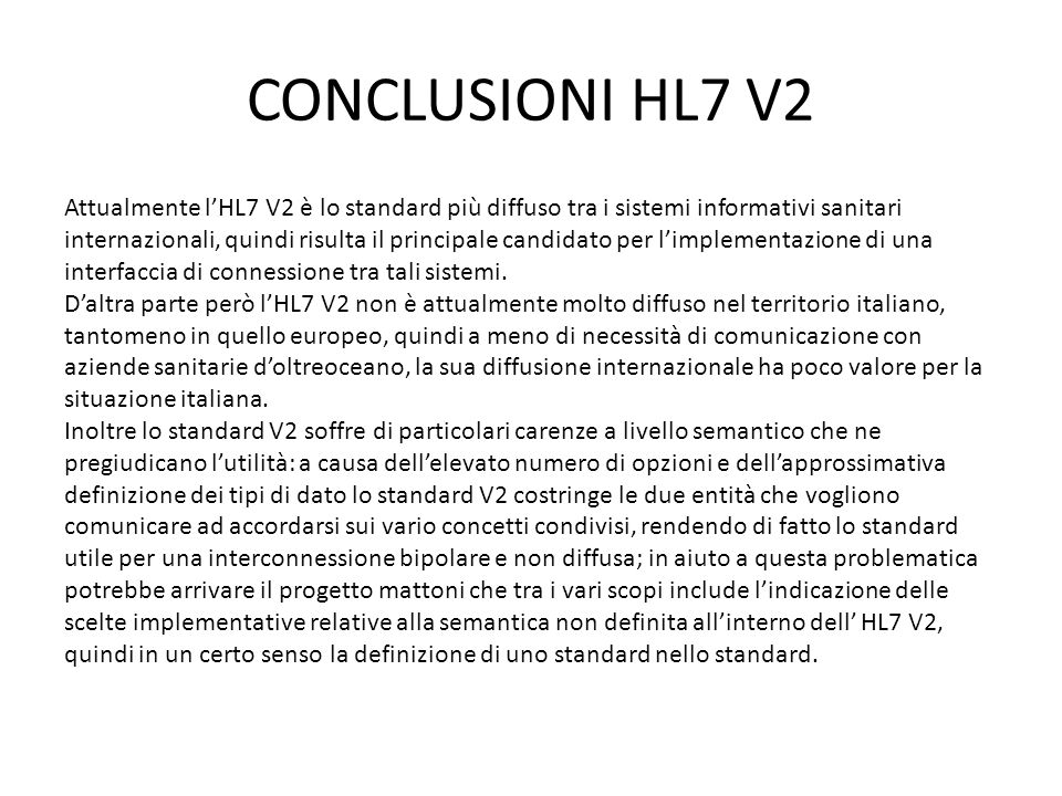CONCLUSIONI HL7 V2