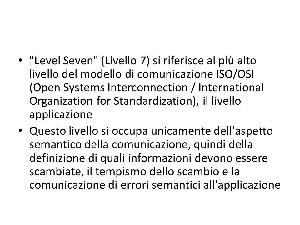 Level Seven (Livello 7) si riferisce al più alto livello del modello di comunicazione ISO/OSI (Open Systems Interconnection / International Organization for Standardization), il livello applicazione