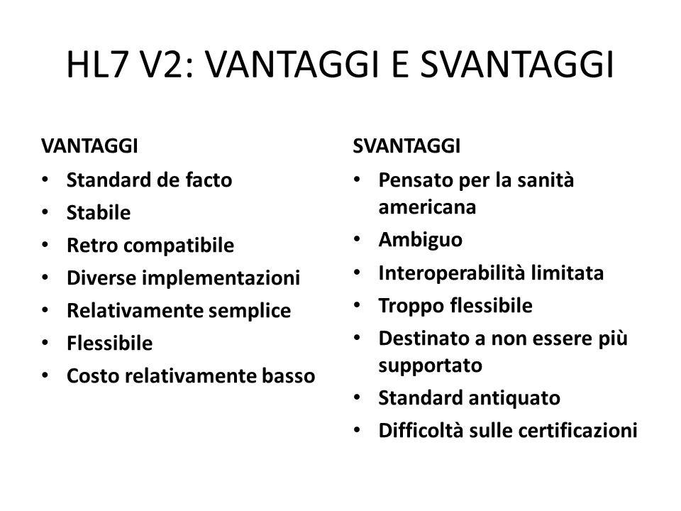 HL7 V2: VANTAGGI E SVANTAGGI