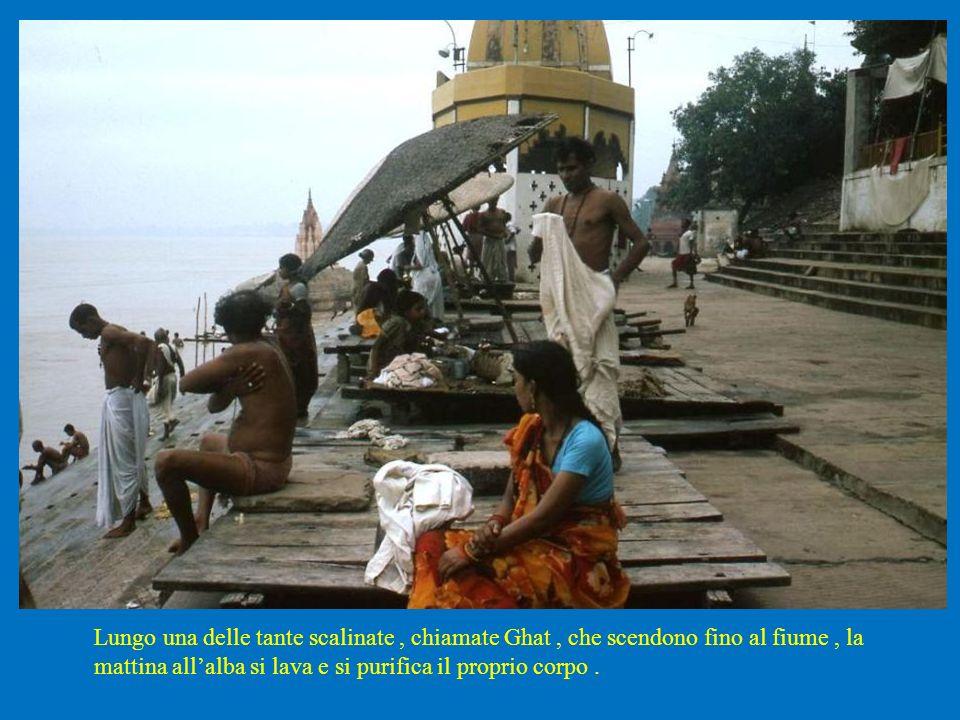 Lungo una delle tante scalinate , chiamate Ghat , che scendono fino al fiume , la mattina all'alba si lava e si purifica il proprio corpo .